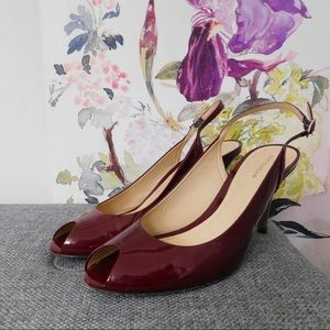 Ann Taylor Burgundy Peeptoe Leather Heels